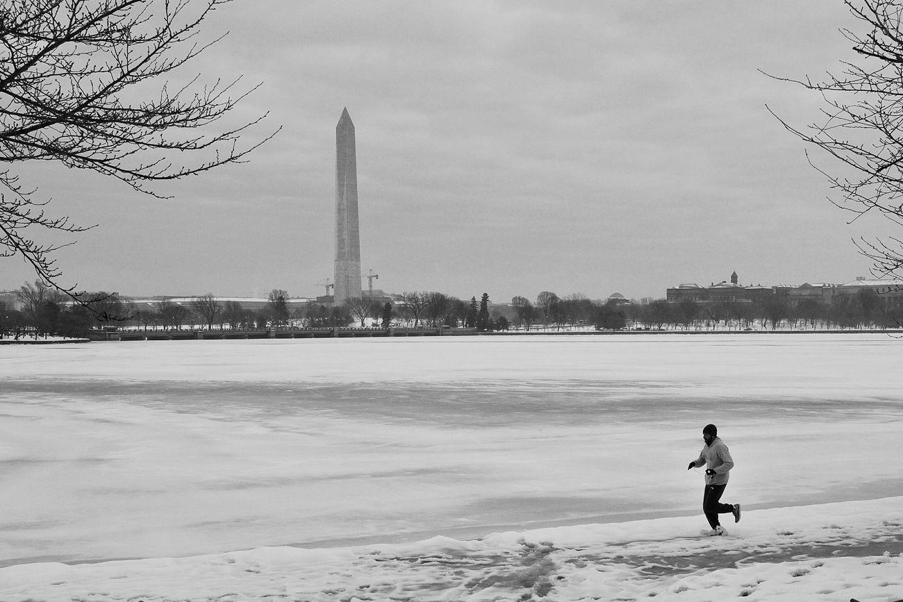 DC WashingtonDC Snow Running Runner Bkackandwhite Monochrome