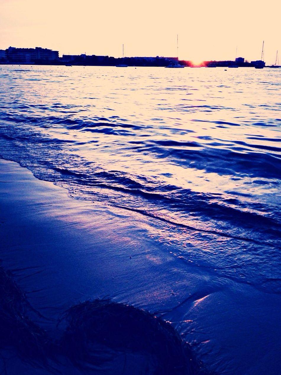 Beach Taking Photos Sea Sunset
