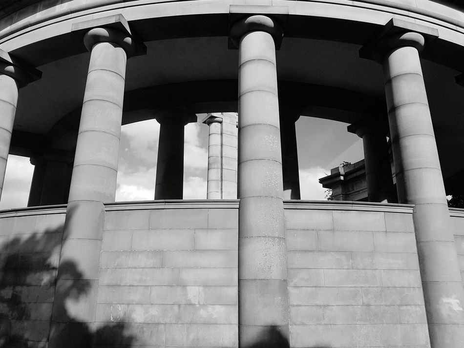 Black & White Monochrome Black And White Architecture Architectural Column Built Structure Day No People Low Angle View Outdoors Building Exterior Park Greenhead Park Huddersfield EyeEm Selects Sunday Building Arched Arches Columns Close-up