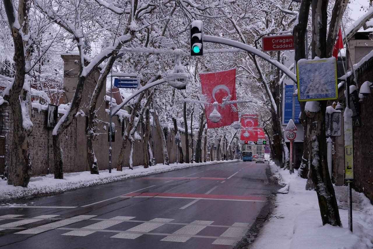 Çırağan street in Beşiktaş/Istanbul in snowy winter time Beşiktaş ❤ Empty Street Istanbul Istanbul Turkey Lots Of Snow Snow Covered Street In Winter Time Street Signs Street Signs With Snow Trees With Snow Turkish Flags Winter In Istanbul Winter Time Cold ⛄ Çırağan Street