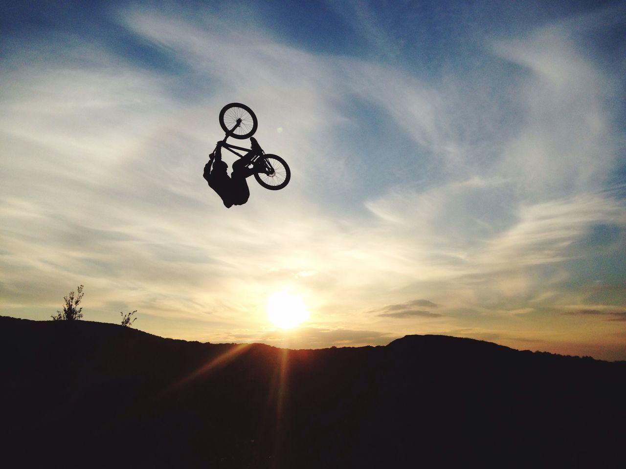 Sky Cloud - Sky Sunset Bicycle Low Angle View Nature Outdoors Sun MTB MTB Biking Tricks