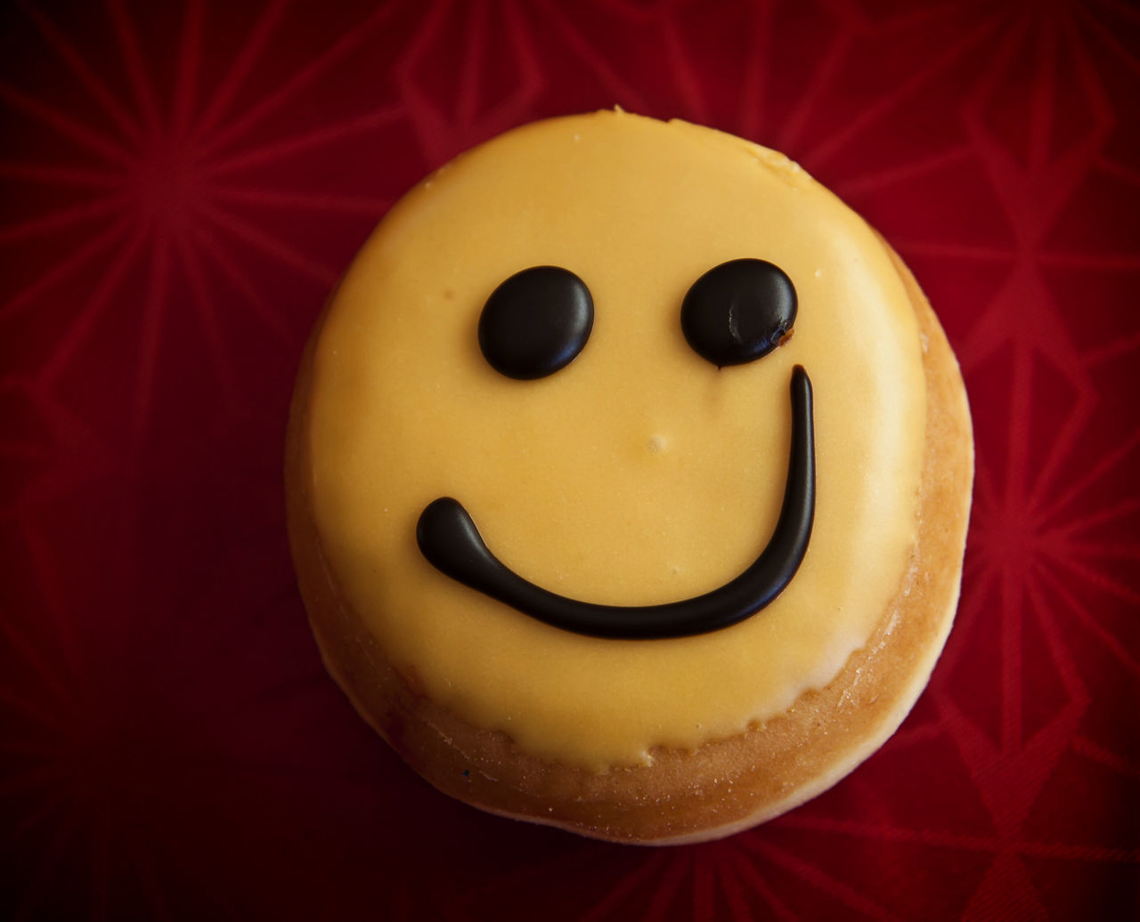 Smiley doughnut with lemon cream icing and chocolate Backen Baker Cake Calories Chocolate Dessert Donut Dough Doughnut Fried Glaze Icin Pastry Round Sugar Sweet Tasty Topping Treat Yellow