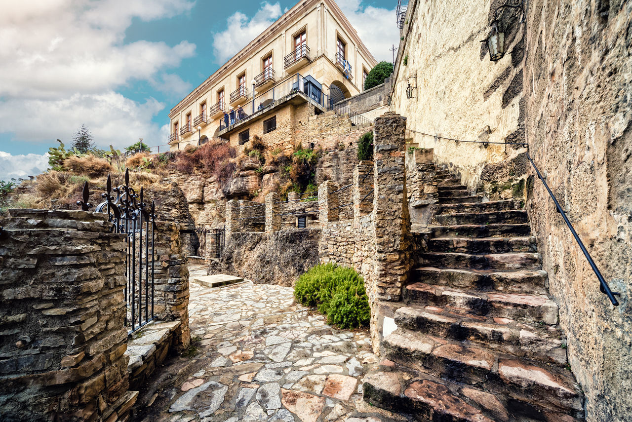 Ronda city. Province of Malaga, Andalusia, Spain Ancient Architecture Andalusia City Costa Del Sol Exterior Famous Place House Landmark Landscape Malaga Nobody Old Buildings Old Town Outdoors Picturesque Village Ronda Spain SPAIN Stairs Steps And Staircases Stony Path Street Touristic Town Travel Destinations Village