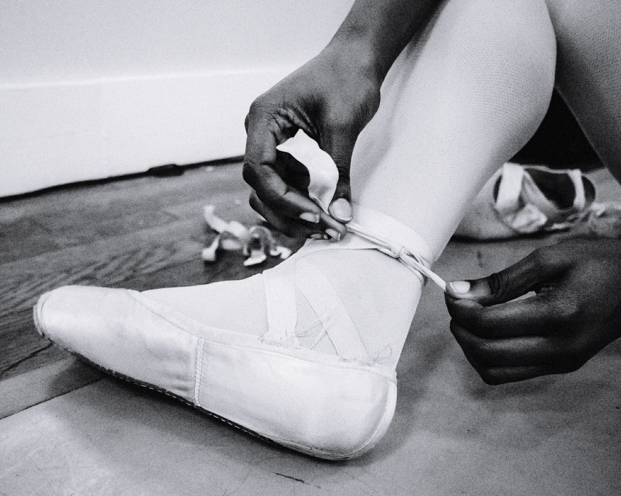 Pointe Prep Indoors  Close-up Real People Women One Person Adults Only Only Women One Woman Only Human Hand Adult People Young Adult Day Mister Brown Photography Ballet Shoes Ballerina PointeShoes  Ballet Dancer