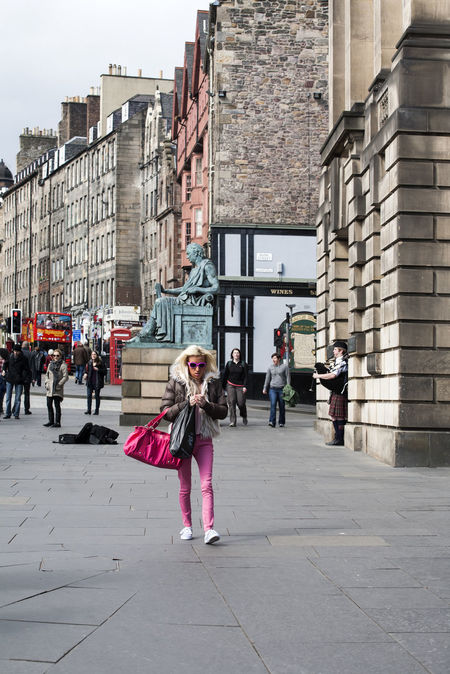 Walking through.... Fashion lady in pink at Royal Mile, Edinburgh Adult Architecture Building Exterior Built Structure City Day Europe Eye4photography  Fashion Full Length Landscape Mile Only Women Outdoors People Pink Pink Color Real People Royal Royal Mile Scotland Streetphotography Streets Uk Walking Around
