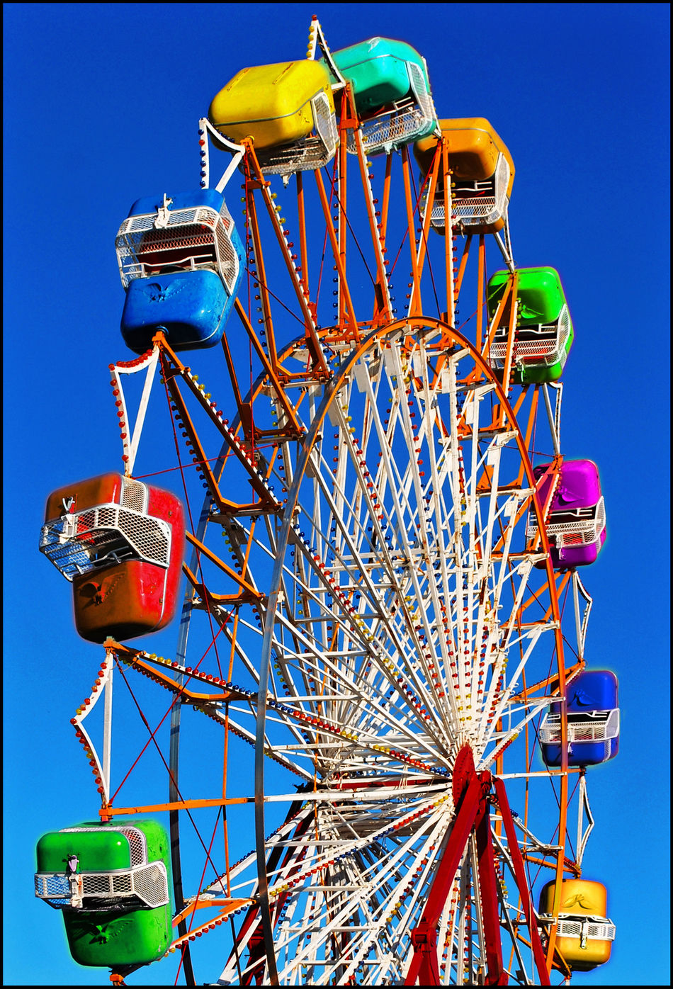 Amusement Park Blu Sky By The Sea Cabins  Colorful Colours Day Ferris Wheel Freedom Greece Leisure Activity Merry-go-round No People Outdoors Summer