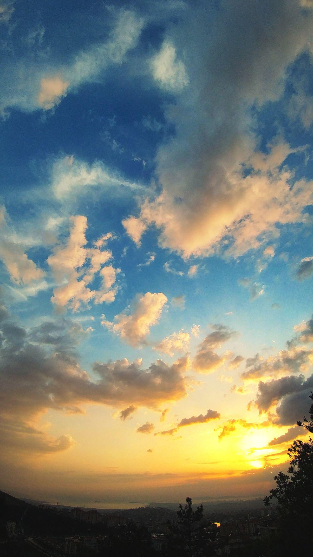 Sunset Cloud - Sky Sky Dramatic Sky Blue Dusk Multi Colored Landscape Nature Scenics Backgrounds Beauty Tranquility Outdoors Sea Horizon Over Water Summer No People Silhouette Beach Manzara Sehir City Dağ Gunes