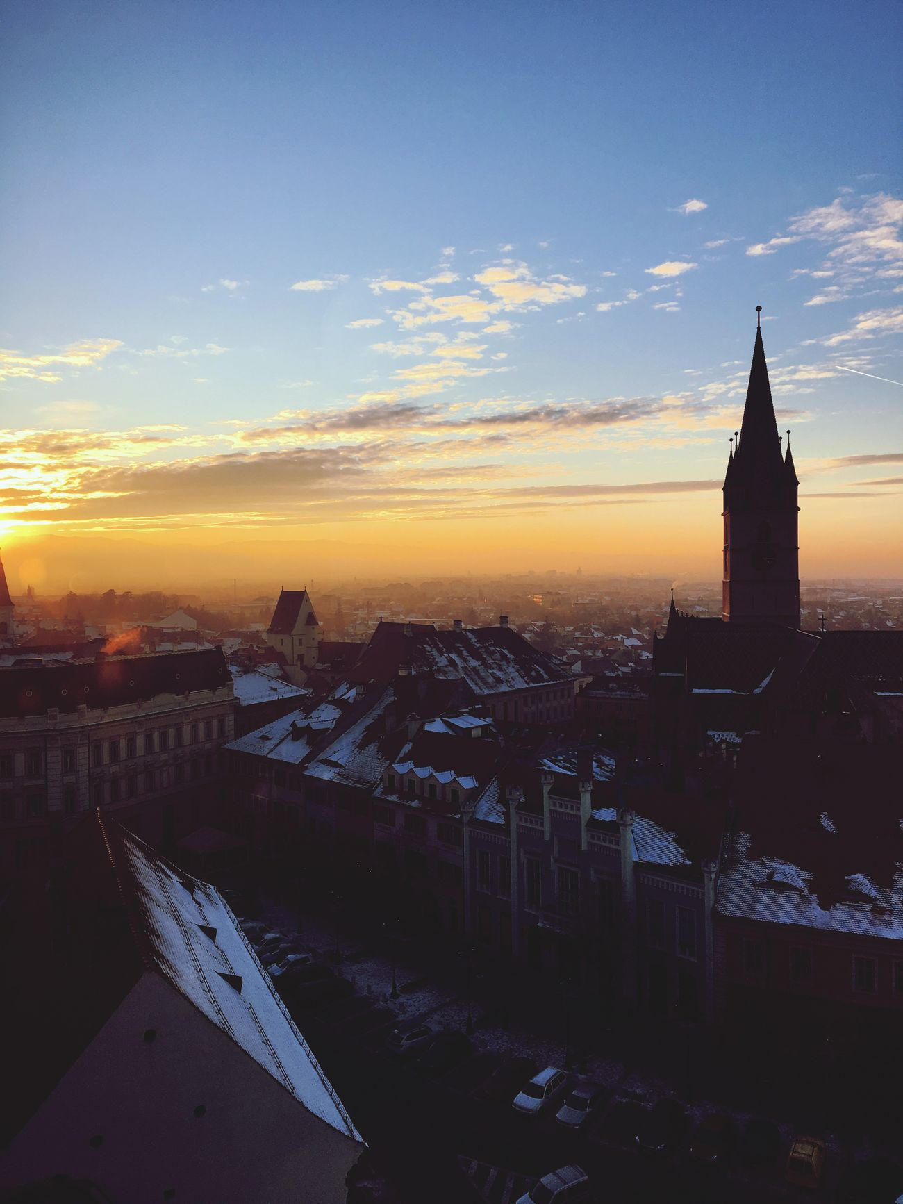 Sunset Sky Winter Tower Architecture Cityofsibiu Cityview Fromthetop