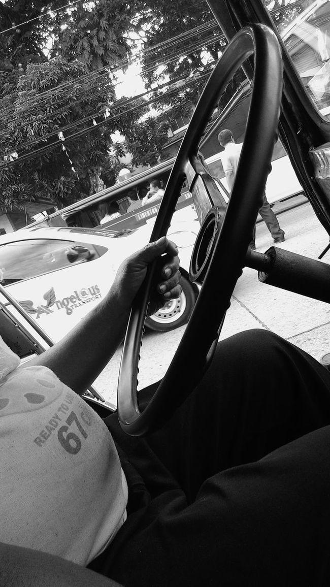 Hands On Jeepney driver.. Zenfone5 Black & White Street Photography