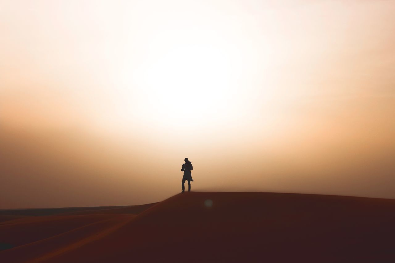 Sunset Full Length Real People Silhouette Lifestyles Walking Nature Men Women Clear Sky Leisure Activity Outdoors Scenics One Person Tranquil Scene Beauty In Nature Landscape Sky Day Morocco Maroc Erg Chebbi