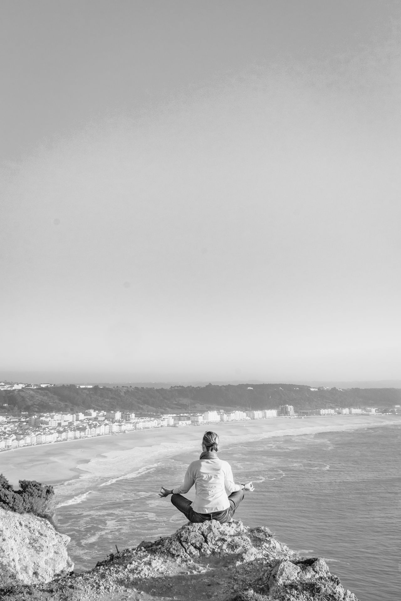 Beach Beauty In Nature Black Black & White Black And White Black And White Photography Blackandwhite Cliff Lanscape Meditate Meditation Nature On The Edge One Person Only Women Peace And Quiet Reflection Rock Scenic Sea Sea And Sky Sky View From Above Water Women