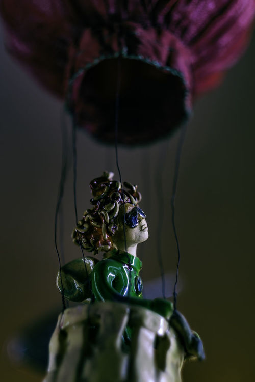 Incorrigible Dreamer. [16/365] 365 365project Baloons Close-up Doll Dolls Dreamer Hanging Night No People Porcelain  Portrait Storefront Surreal Surrealism Through Glass Through The Window
