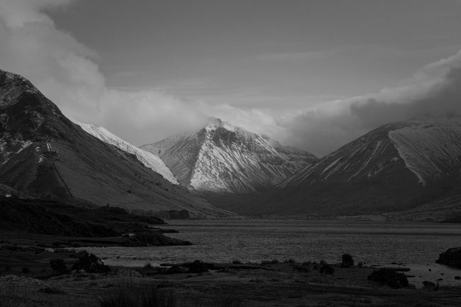 View of Scafell over Wastwater Blackandwhite Monochrome Landscape Lake Mountain Found On The Roll