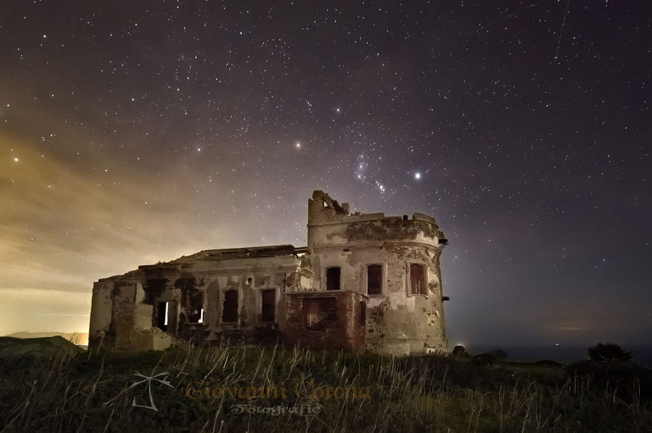 Abandoned Architecture Building Exterior Built Structure Damaged Deterioration Low Angle View Night Nuances Obsolete Old Orion Outdoors Ruined Sardegna Sardinia Sky Star - Space Star Field Sulcis Tranquil Scene Urban First Eyeem Photo