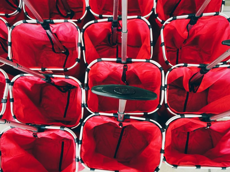 Red In A Row Chair Seat No People Outdoors Auditorium Day Bucket Buckets Copy Space Copyspace Same Same But Different