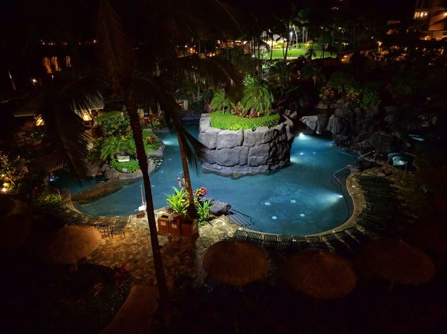 night time balcony view High Angle View Water Tranquil Scene EyeEm Gallery Outdoors No People Mobile Photography Swimming Pool Tropical Beauty Travel Destinations Playing Tourist Purist No Edit No Filter Blue Water Calm Resort Non-urban Scene Thatched Roof Coconut Trees Palm Tree Man Made Landscape Eyeemphotography Dramatic Angles TakeoverContrast Overnight Success Taking Photos