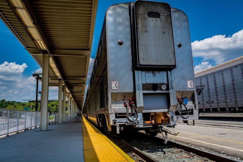 Blue Cloud - Sky Day No People Railroad Track Sky Train Train - Vehicle Transportation First Eyeem Photo