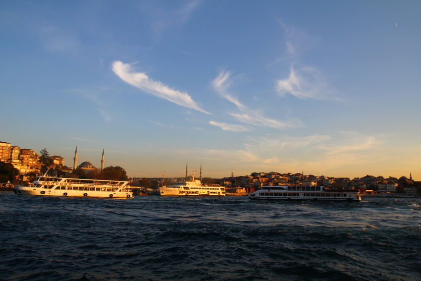Beauty In Nature Blue Boat Cloud Cloud - Sky Istanbul Mode Of Transport Nautical Vessel Sea Sky Travel Destinations Uskudar Water Waterfront