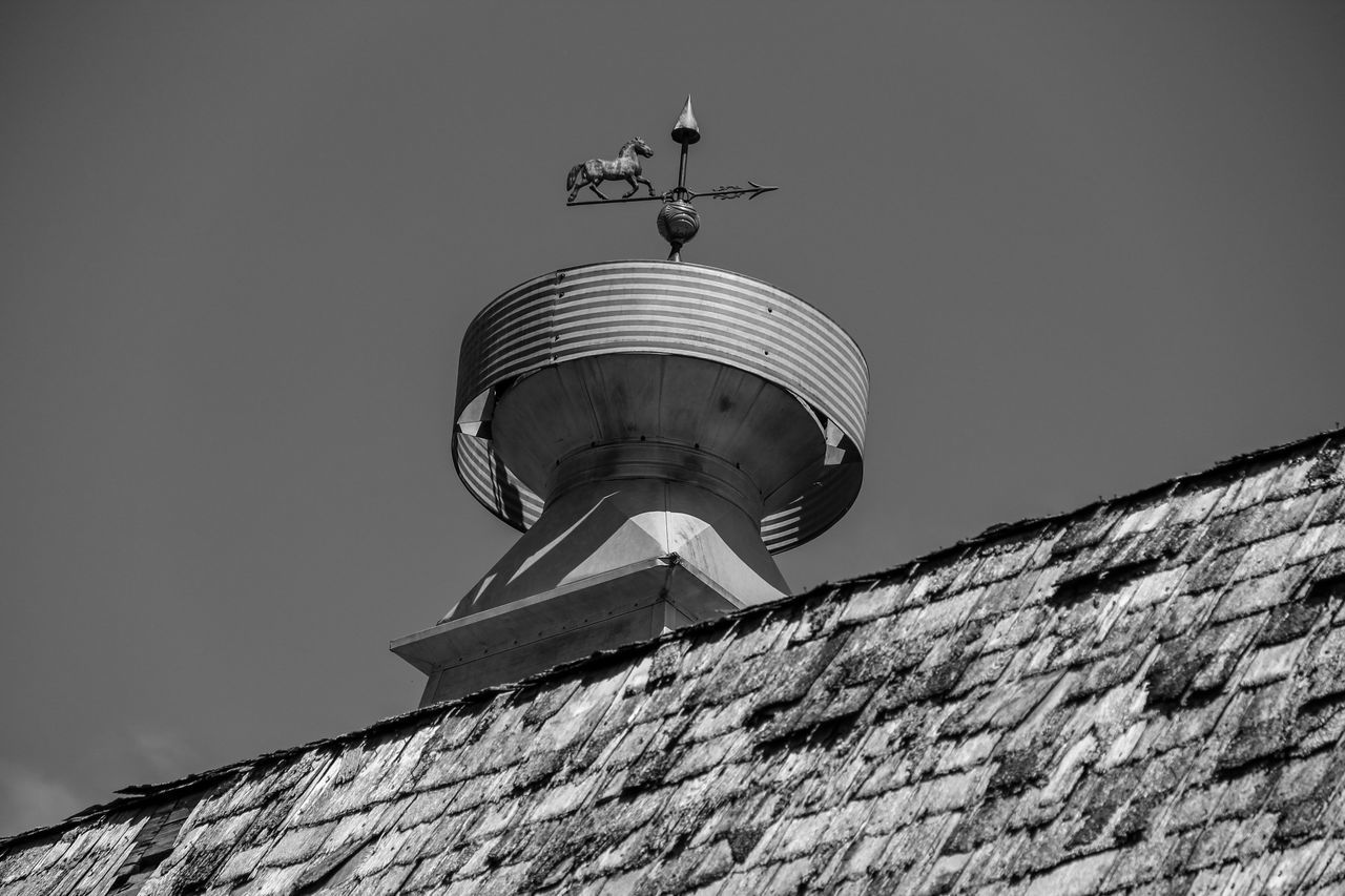 Barn Cupola Agriculture Barn Black & White Black And White Building Exterior Built Structure Canon60d Canonphotography Clear Sky Cupola Farm Low Angle View Metal Roof Shingles Weather Vane Wood Shingles
