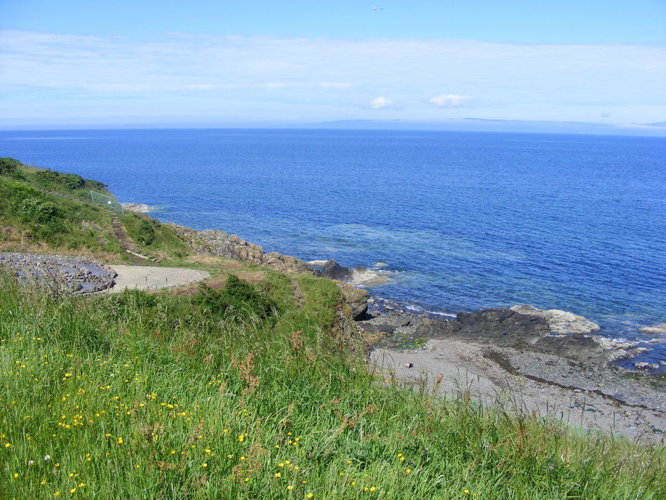 Ayrshire Beauty In Nature Blue Sea Blue Skty Coastline Grass Horizon Over Water Idyllic Nature Rocks Scenics Scotland Sea Sky Tranquil Scene Tranquility Water