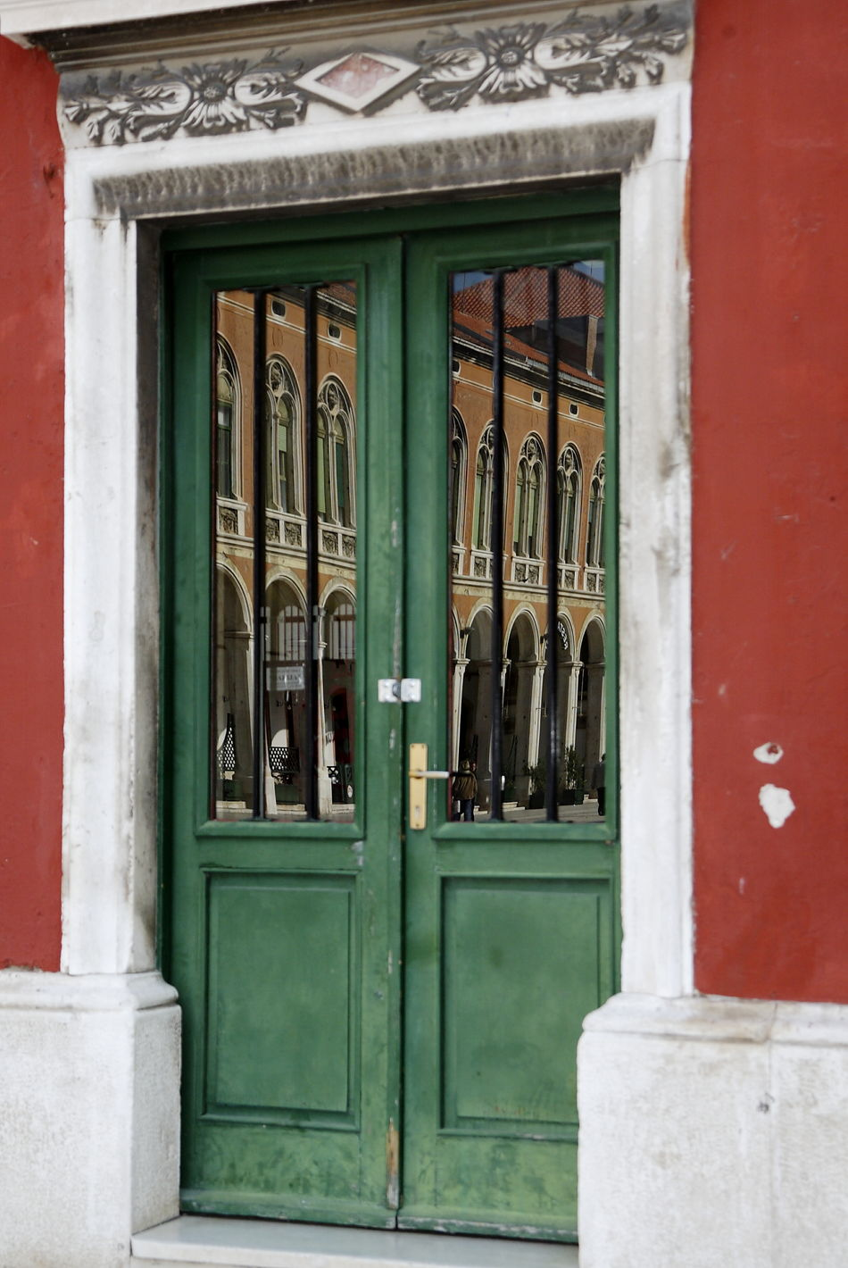 Architecture Building Exterior Built Structure Closed Doors Color Rust Day Door Doors Green Green Color Green Doors No People Outdoors Reflection Reflection In A Window Republic Square Rust Stone Frame Stone Framing