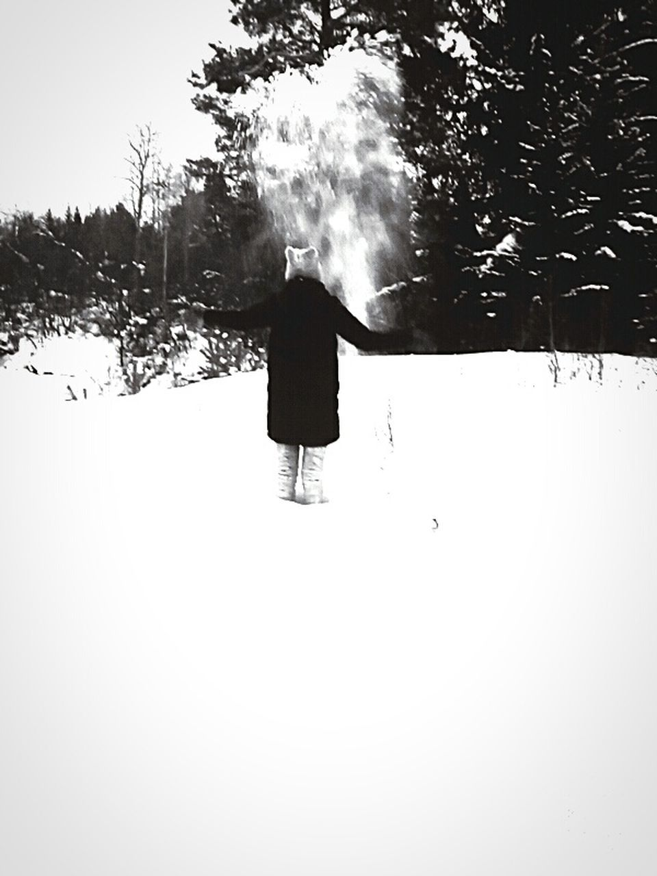 rear view, winter, snow, full length, one person, real people, walking, nature, field, outdoors, tree, day, landscape, cold temperature, men, beauty in nature, sky, people