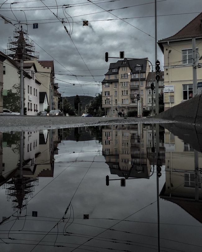 Puddle Puddleography Puddle Reflections Puddles Puddlegram Streetphotography Street Photography Sky And Clouds Check This Out Deutschland City Germany Architecture Thuringen Jena Taking Photos EyeEm Best Shots Reflection