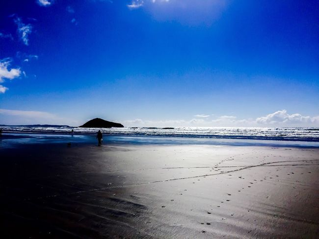Tofino BC Canada Ocean View Nature Beauty In Nature People And Places. Outside Idyllic Scenics Water Tranquil Scene Walking Around Sunlight Tranquility Blue Wave Blue Footprints In The Sand Footprints