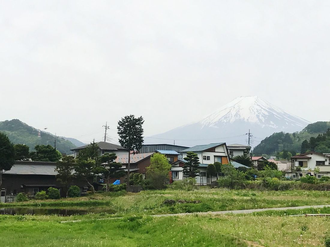 Mountain Fuji Mt. Japanese  Japan Japan Photography Architecture Building Exterior Built Structure Day House Outdoors No People Beauty In Nature Landscape Nature Sky Mountain Range Grass Tree Scenics Clear Sky