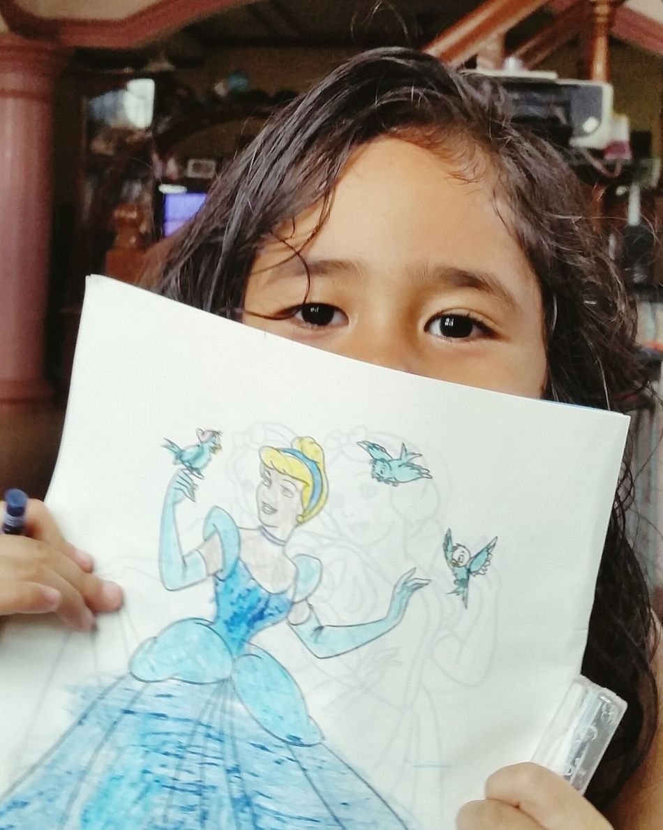 Child One Person Girls Childhood Headshot One Girl Only People Portrait Children Only Indoors  Day Adult Drawingbook Cinderella