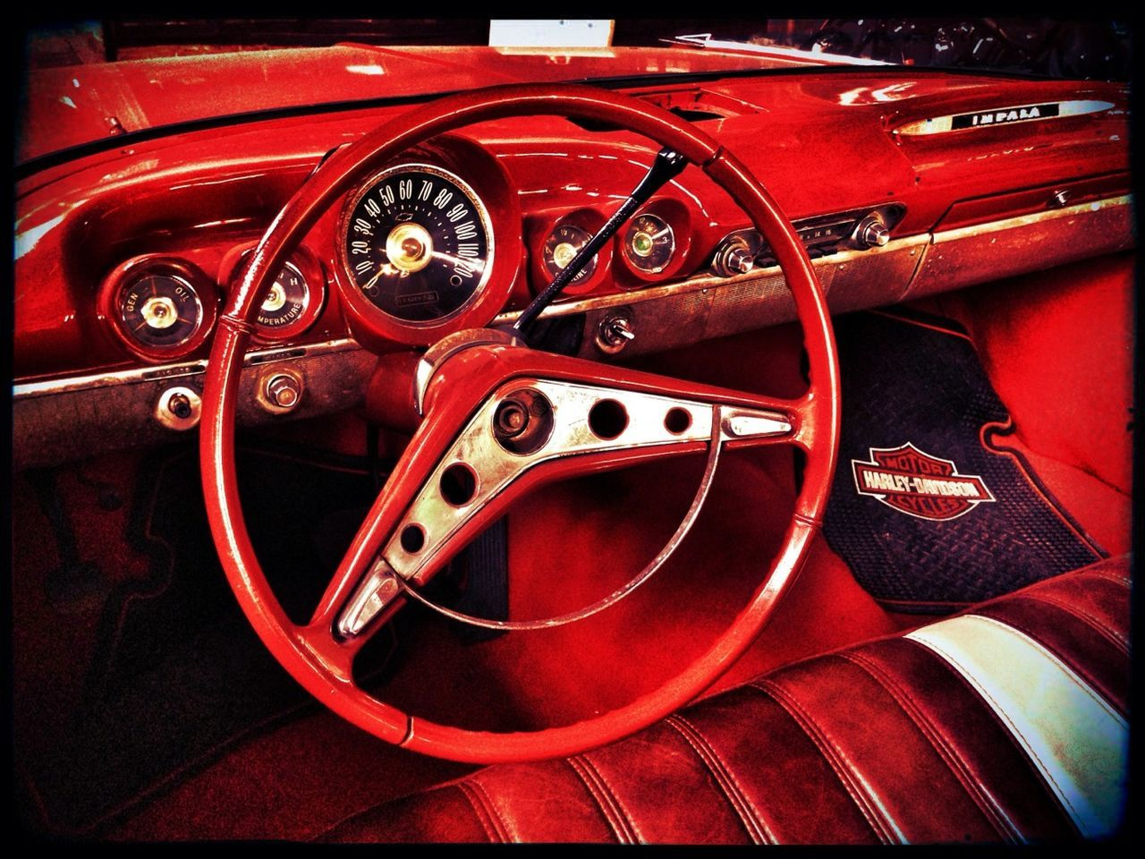 red, car, land vehicle, no people, transportation, vintage, close-up, day, technology, vehicle part, indoors