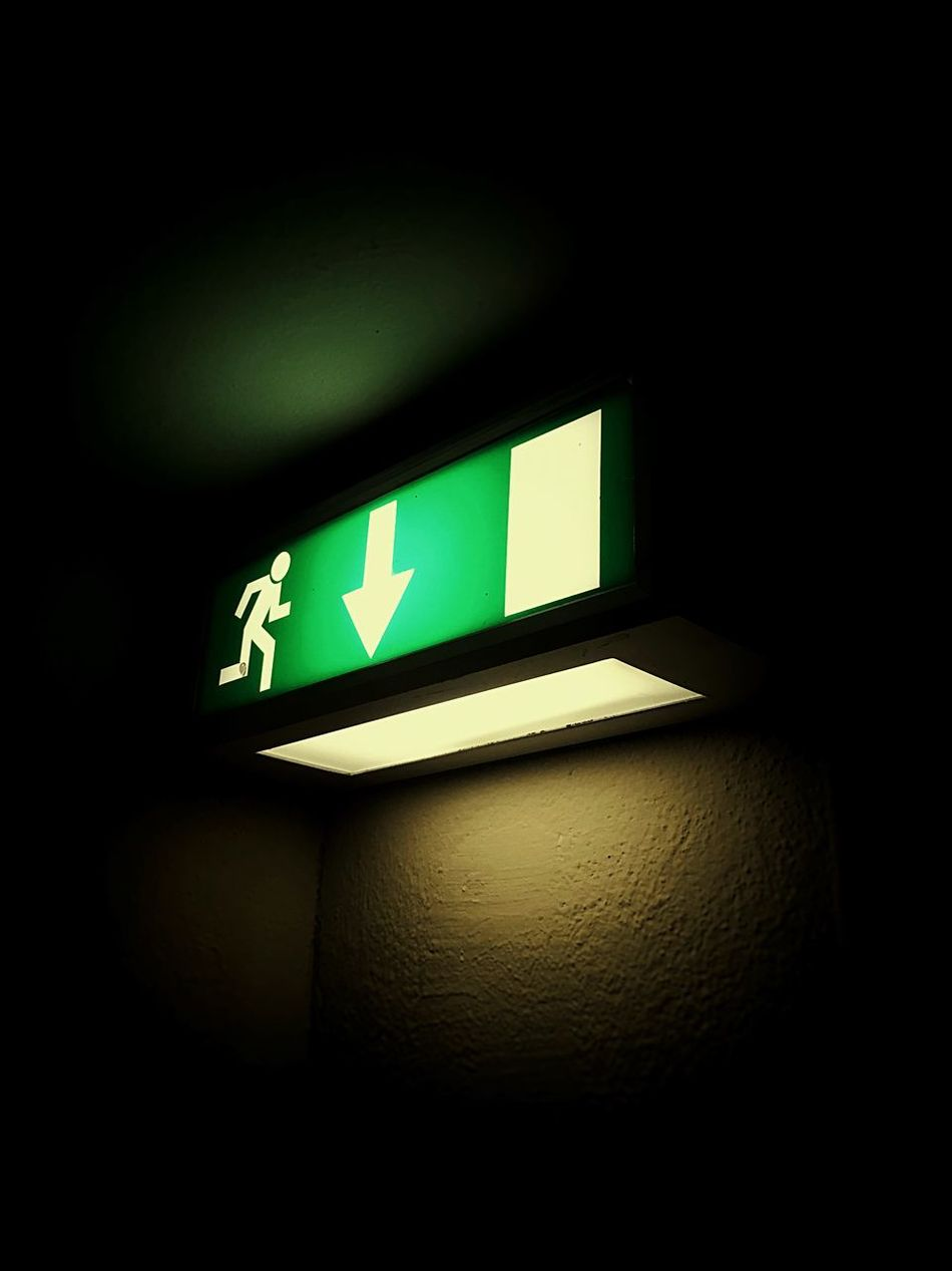 Illuminated Exit Sign Guidance Arrow Symbol Communication Green Color Indoors  No People Low Angle View Leaving Night Close-up Night Photography Nightphotography The Secret Spaces The Secret Spaces