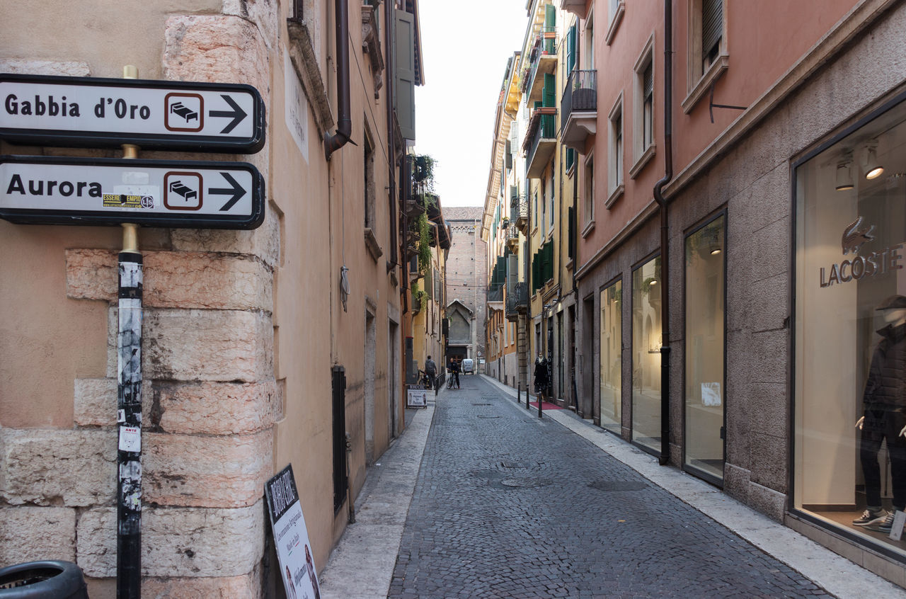 Verona, Italy - September 27, 2015 : Quiet streets of the old city of Verona. Via Santa Eufemia street corner in Verona, Italy Architecture Architecture Art Building City Culture Day Europe Famous History House Italy Landmark Old Outdoors People Square Street Tourism Town Travel Urban Verona View Walking