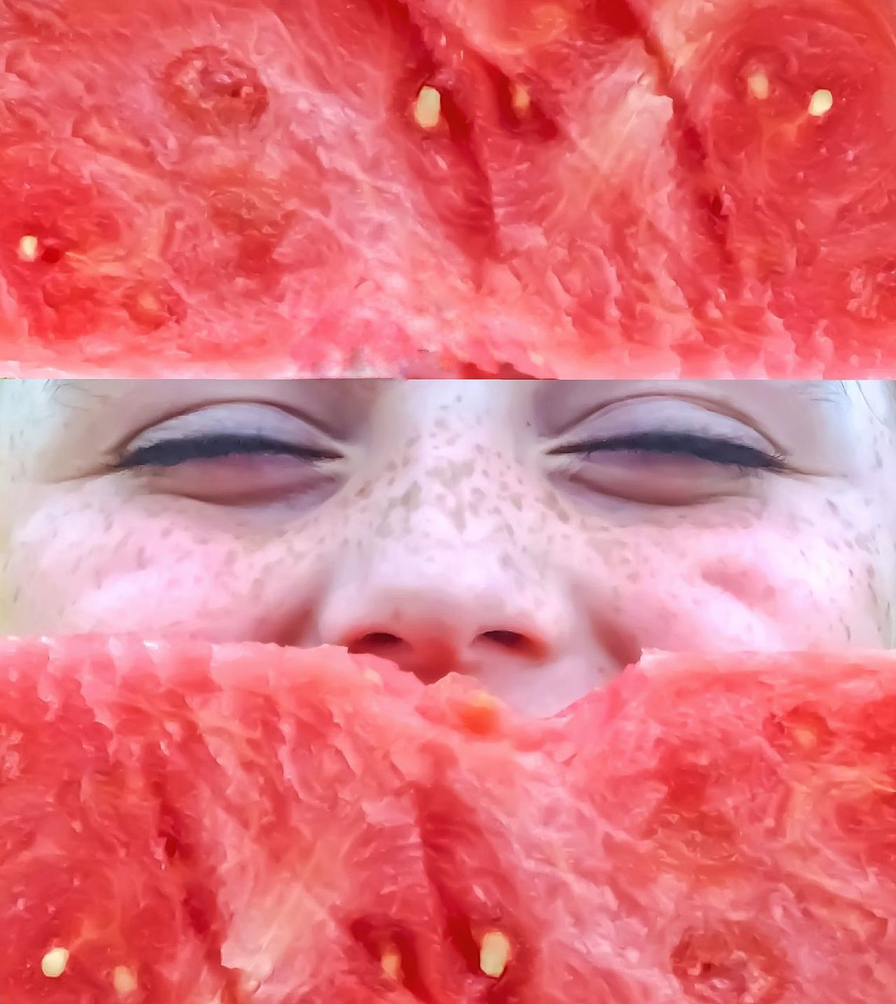 Double Exposure Cut And Paste Human Face Human Body Part Pink Color Headshot Portrait Girl Fruit Watermelon🍉 Slice Of Melon Picnic Food Eating Outdoors Summer Food Healthy Lifestyle Freshness Children Only Close-up Eyes Hidden Face Eyes Only Rule Of Thirds Sections Natural Frame BYOPaper! Visual Feast