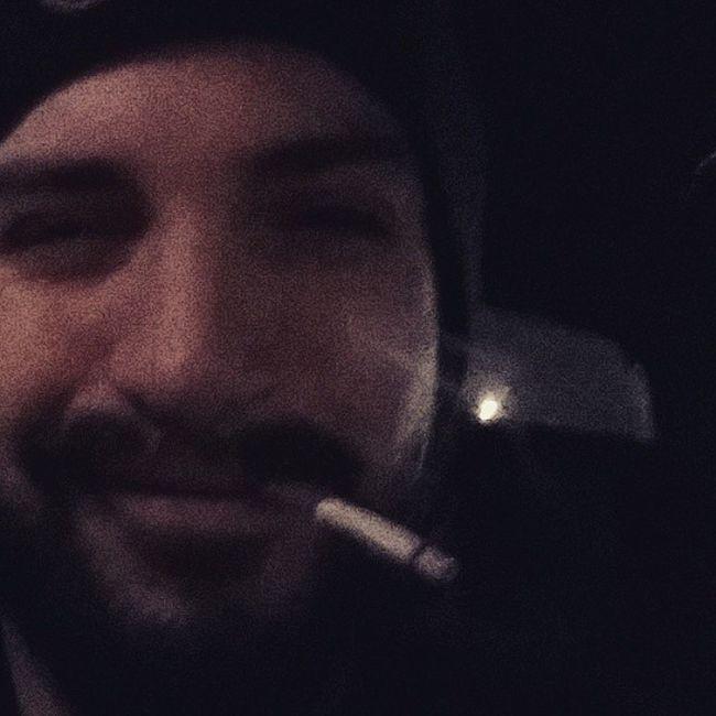 In Syd's Car Selfie Smoker Satyroid Satyr grin beard cap night