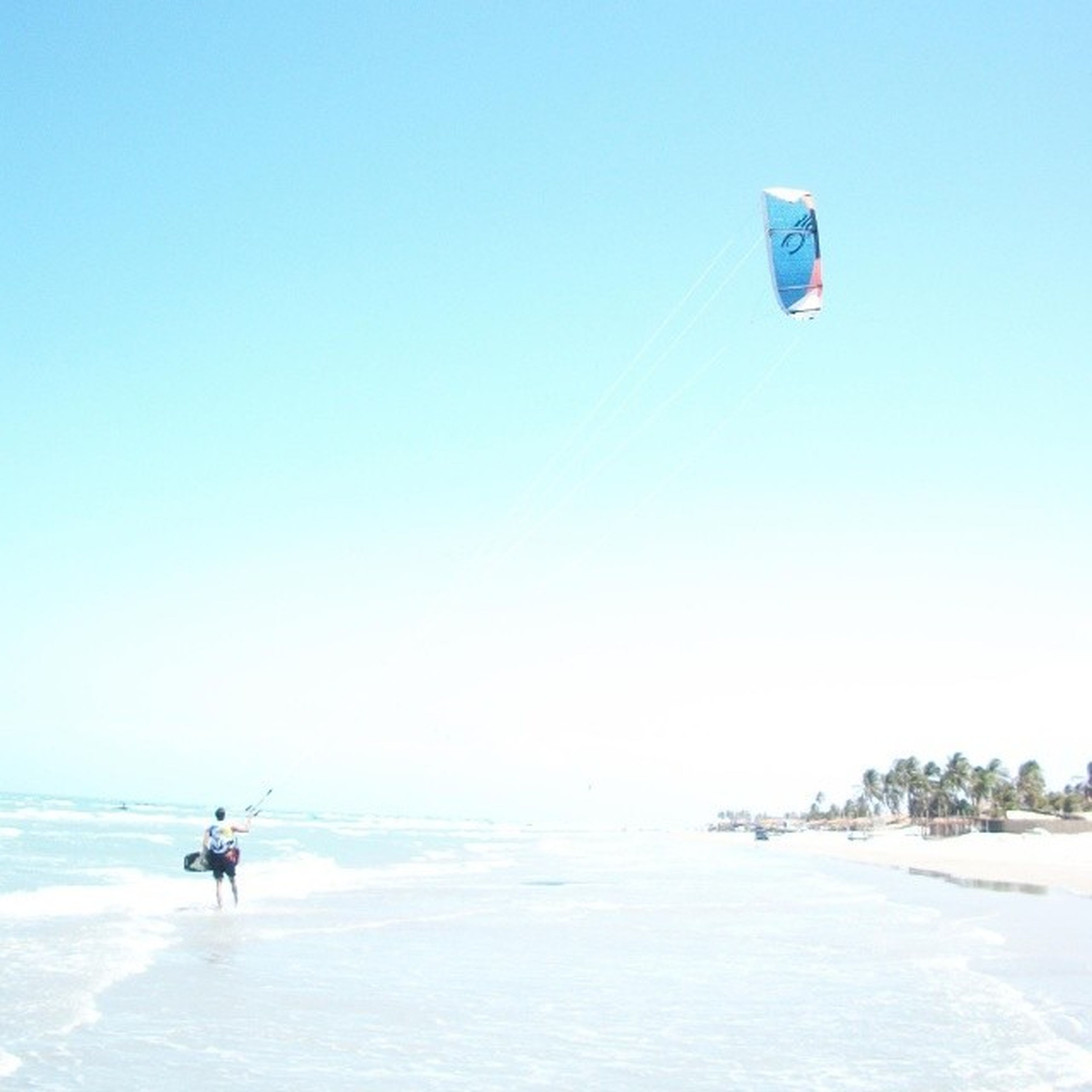 clear sky, leisure activity, copy space, lifestyles, extreme sports, sea, adventure, vacations, sport, blue, water, mid-air, parachute, men, beach, transportation, horizon over water, fun