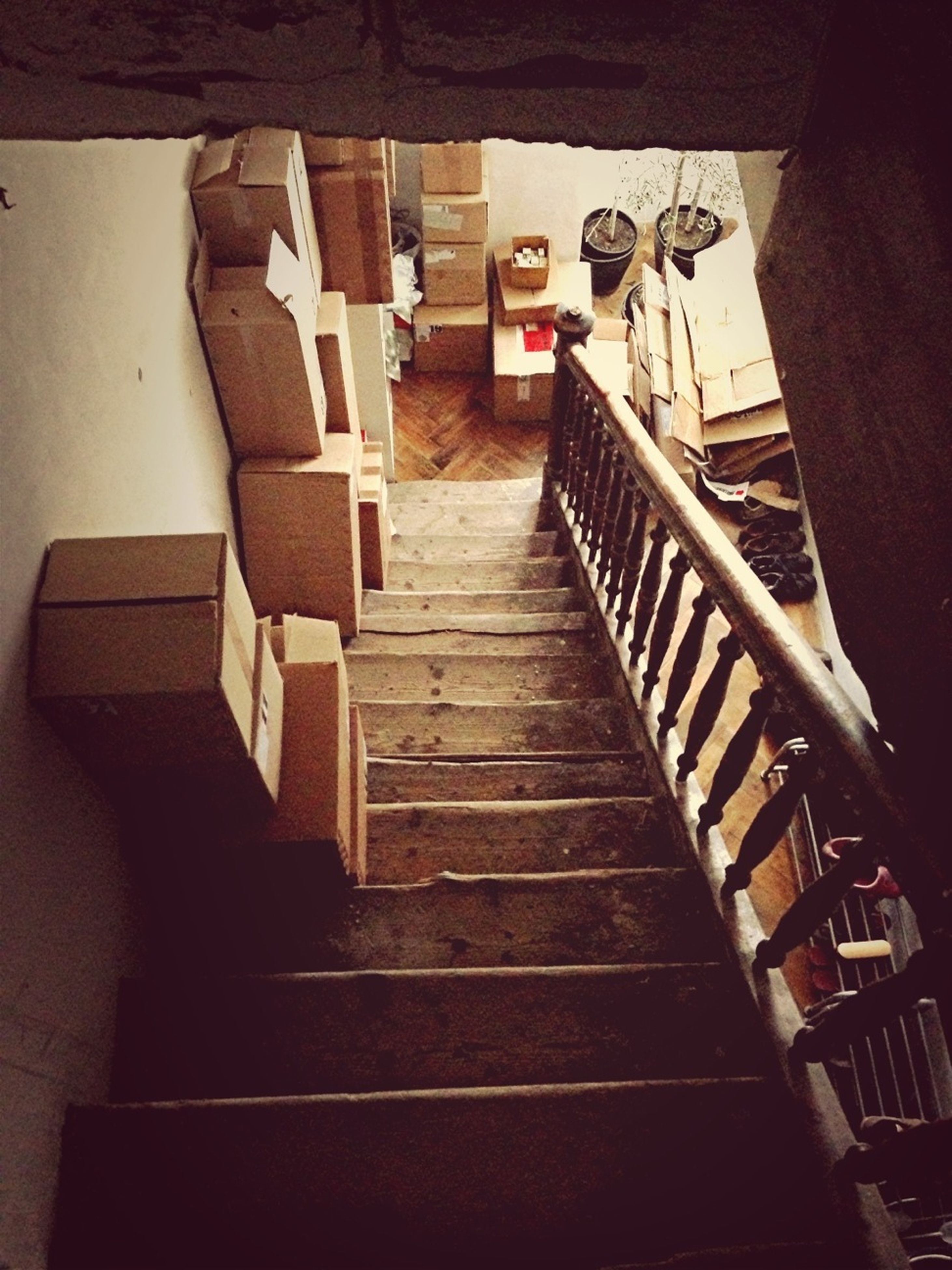 steps, steps and staircases, staircase, railing, stairs, the way forward, high angle view, built structure, architecture, sunlight, low angle view, indoors, shadow, day, building exterior, narrow, empty, house, wood - material