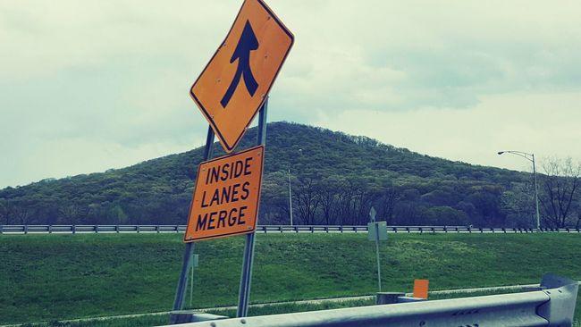 Inside Lane Road Sign Eyeem Edit Hill Railing Trees Merge Sign West Virginia USA EyeEm Edits EyeEm Filter