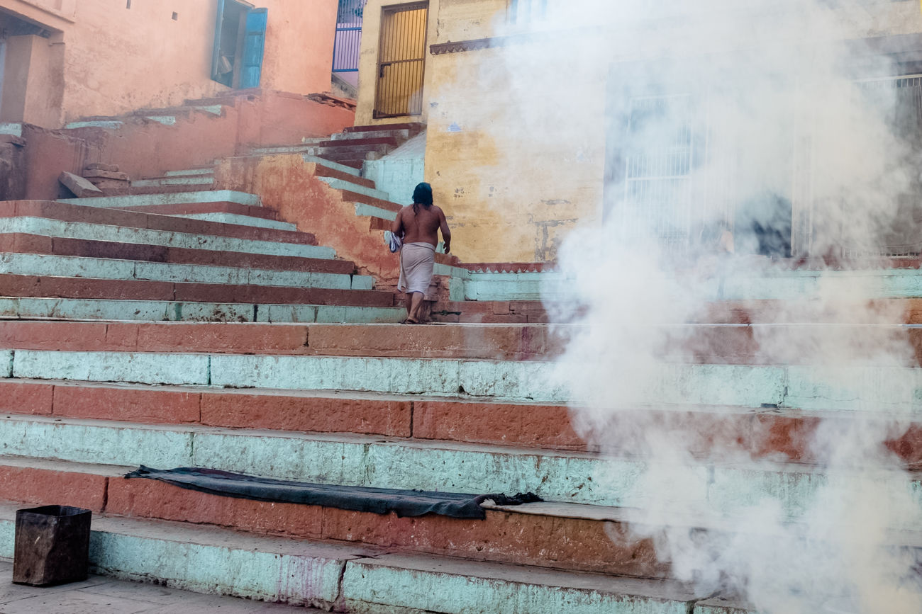 Building Exterior City Fujifilm Lifestyles Md Johirul Islam Men Outdoors Real People Smoke - Physical Structure Steps Street Photography Streetphotography The Street Photographer - 2017 EyeEm Awards Varanasi, India Ganges, Indian Lifestyle And Culture, Bathing In The Ganges, X100t