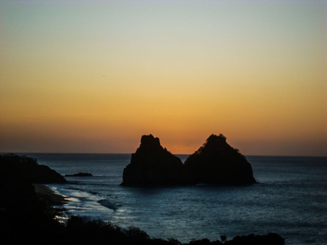 Beauty In Nature Brazil Brazil ❤ Day Fernando De Noronha Island Fernandodenoronha Horizon Over Water Morrodoisirmãos Rock - Object Rock Formation Scenics Sea Sunset Tranquil Scene Tranquility Water