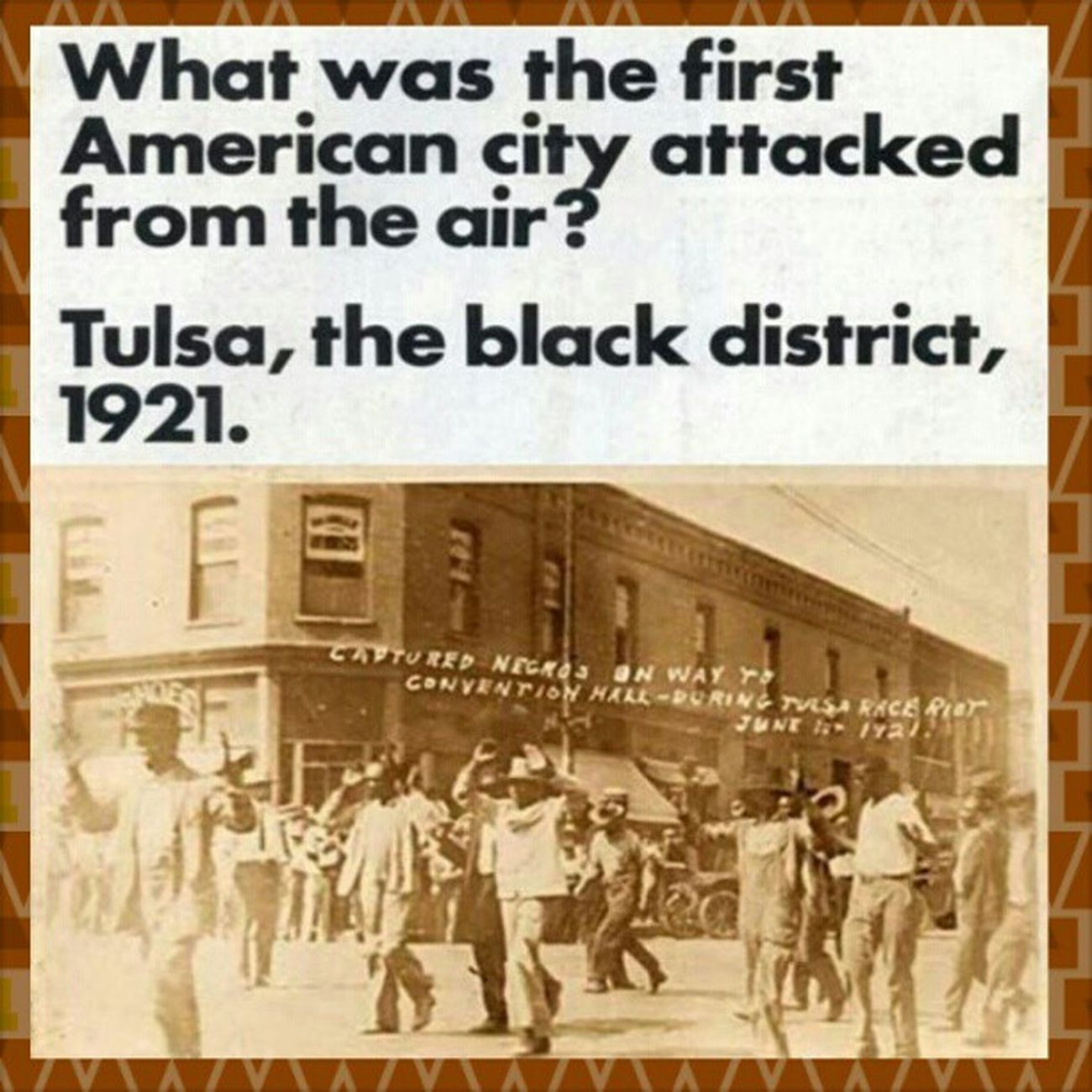 """National Guard troops patrolling the streets armed. Thousands of black people held in a convention center. Hundreds of black dead, with bodies piled like wood. That was not New Orleans, that was Tulsa, Oklahoma, in June 1921. On May 30, 1921 a young black man named Dick Rowland, stumbled into a white woman, while entering an elevator. He was accused of assault, and arrested the next day. Newly rich from oil Tulsa, was a Ku Klux Klan town. Rowland was sentenced to be hanged. The Tulsa Tribune called for a """"Negro lynching tonight."""" The white mob was surprised when they were met by several dozen armed black men, dressed in their World War I uniforms. This led to a racist three day destruction of the black neighborhood of Greenwood. The Red Cross reported 300 mostly dead black people. Greenwood called """"Little Africa,"""" was a relatively wealthy community. White mobs, many deputized, destroyed every house, store, church or school. The mob met resistance from an armed black population. Governor Robertson declared martial law. The National Guard arrived with machine gun mounted trucks, and airplanes hovering over Greenwood. It was the first time an American city was bombed from the air, by the US government. Over 6,000 black people, were round up and held in the convention center and fairgrounds, as long as eight days. The homeless were shuttled into a tent city, where typhoid and malnutrition took over. Blacks were allowed out of the convention center, with a tag, with an employers name. Thosands fled the city. Attempts to turn Greenwood into an industrial zone were unsuccessful. For several years, it was deprived of paved streets, running water, and garbage collection. See: Tulsa Reparations Coalition and thank you to Internationalist Group for presenting this story in your newspaper. Blackhistorymonth Blackhistory"""