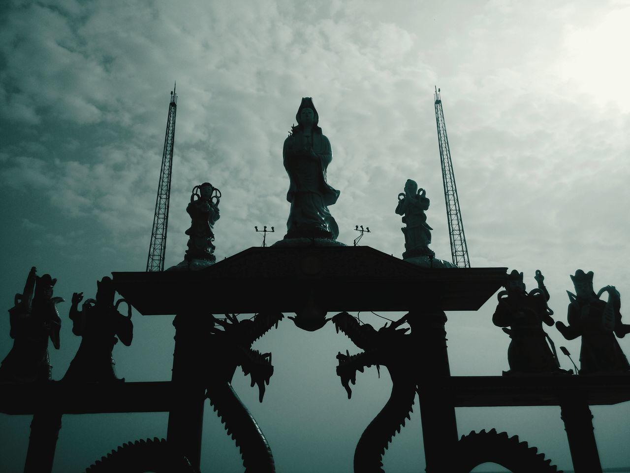 Kwan In, Vihara Kenjeran Ria, Surabaya. Statue Goddess Kwan In Surabaya Vihara Dragon Stone Statue