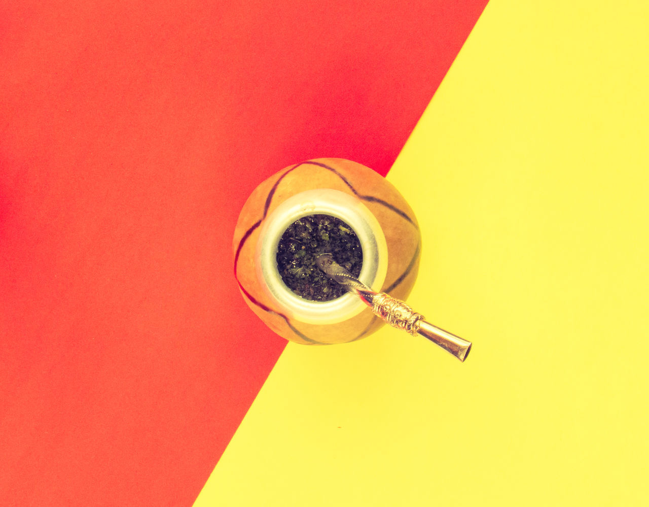 Yerba mate cup and straw of coffee on a colorful pastel background. Beverage Bombilla Circle Color Contrast Drink Food And Drink Freshness Herbal Hot Metal Minimalism Object Pattern Red Refreshment Still Life Straw Table Traditional Wood Yellow Yerba Mate
