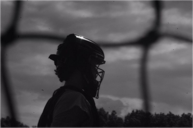 Softball Sports Photography Silhouette Shades Of Grey Portrait Field Player Woman Catchers Box Behind The Net