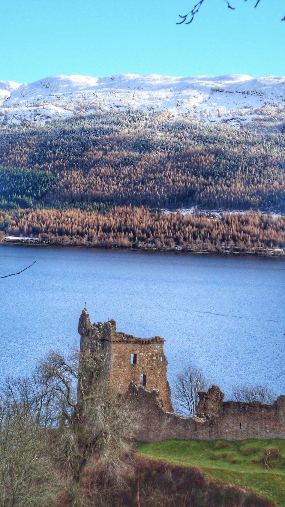 Urquhart Castle Ruins UrquhartCastle Urquhart Castle Ruins Castle Scotland Snow Lake Blue Sky Loch Ness Loch