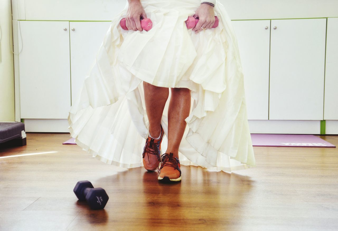 Out Of The Box One Girl Only One Person Human Body Part Adult Fitness Fitness Training Sneakers Wedding Bride Bride Shoes Dumbells Gym Personal Trainer Campaign Wedding Plan Woman Sports Selective Focus Healthy Lifestyle Training Legs Muscles