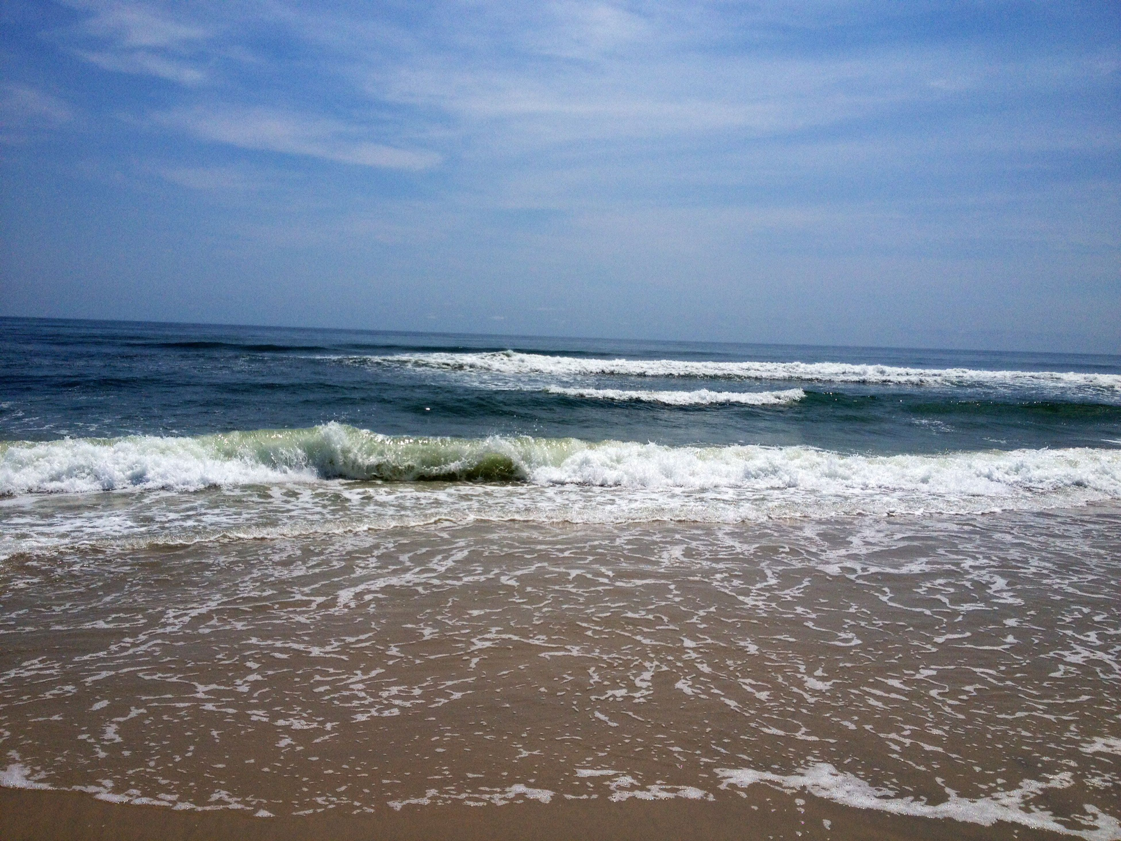 sea, water, horizon over water, beach, scenics, wave, surf, beauty in nature, shore, sky, tranquil scene, tranquility, nature, blue, idyllic, sand, vacations, motion, day, seascape