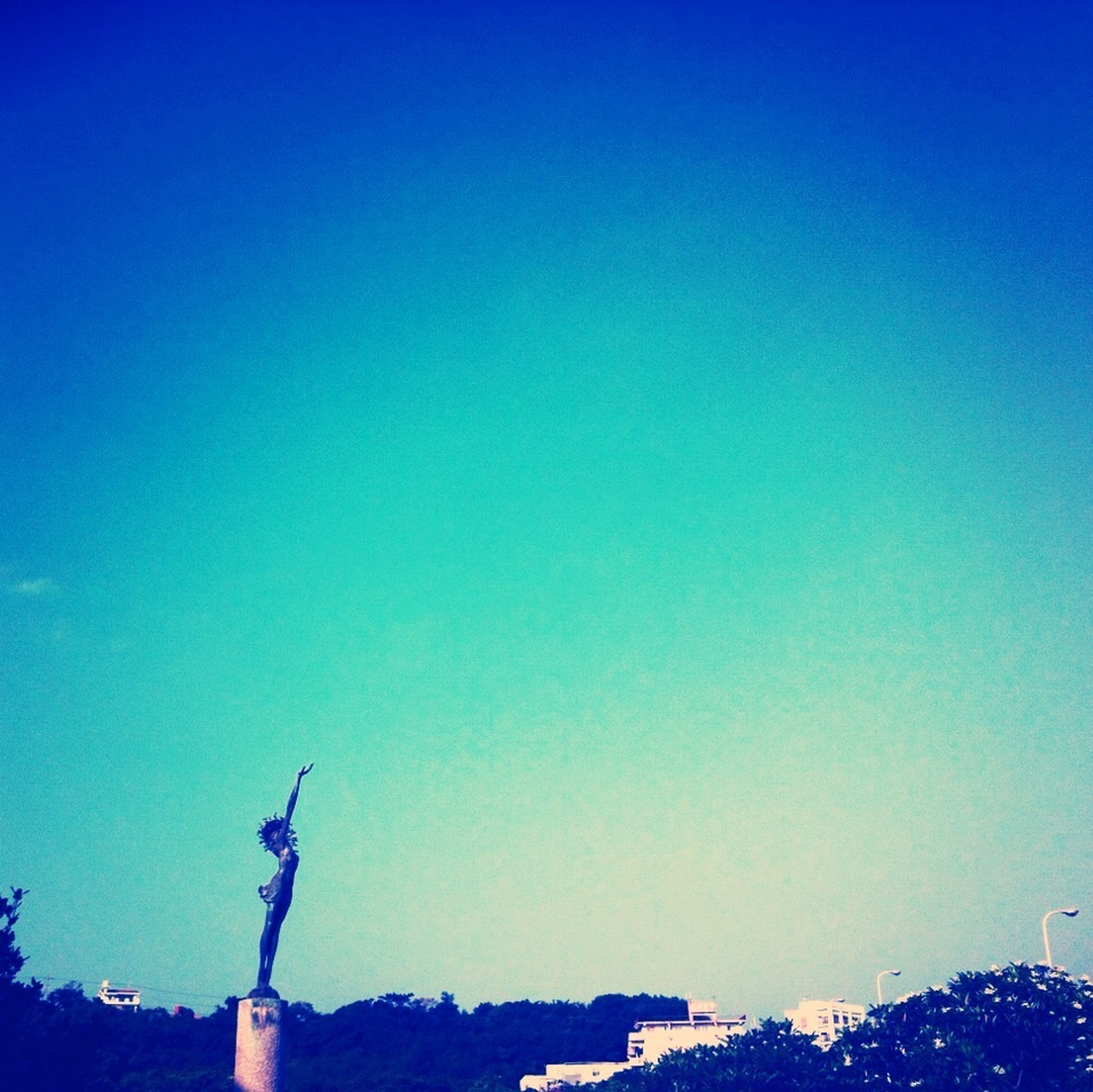 statue, sculpture, human representation, copy space, blue, clear sky, low angle view, art and craft, art, creativity, animal representation, built structure, outdoors, silhouette, high section, architecture, no people, day