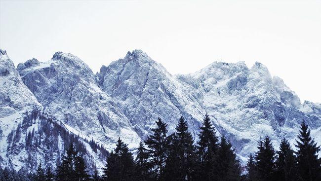 Zugspitze, highest german mountain Alpine Alpps Alps Beauty In Nature Cold Temperature Day Fog Foggy Forest Germany Germanys Highest Mountain High Mountain Mountain Range Mountain View Mountains Nature No People Outdoors Peak Snow Summit Tranquility Zugspitze Zugspitzmassiv