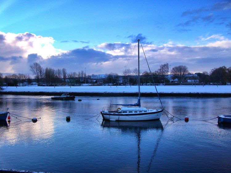 Beauty In Nature Dumbarton Leven Nature Nautical Vessel No People Outdoors River River Leven Rivers Scenery_collection Scenics Scotland Scotland Wild Landscape Scotlandsbeauty Sky Tranquility Transportation Tree Water Winter Winter Scene Winter Sun Winter Sunset